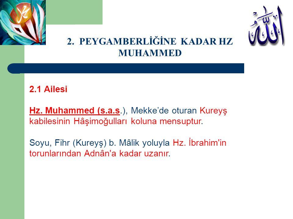 2.1 Ailesi Hz. Muhammed (s.a.s.), Mekke'de oturan Kureyş kabilesinin Hâşimoğulları koluna mensuptur. Soyu, Fihr (Kureyş) b. Mâlik yoluyla Hz. İbrahim'