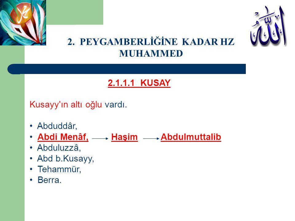 2.1.1.1 KUSAY Kusayy'ın altı oğlu vardı. Abduddâr, Abdi Menâf, Haşim Abdulmuttalib Abduluzzâ, Abd b.Kusayy, Tehammür, Berra. 2. PEYGAMBERLİĞİNE KADAR