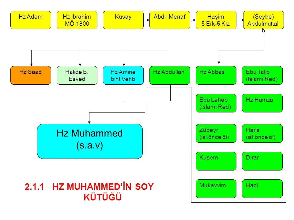 Hz AdemHz İbrahim MÖ:1800 KusayAbd-i MenafHaşim 5 Erk-5 Kız (Şeybe) Abdulmuttali b Hz SaadHalide B. Esved Hz Amine bint Vehb Hz Abdullah Hz Hamza Ebu