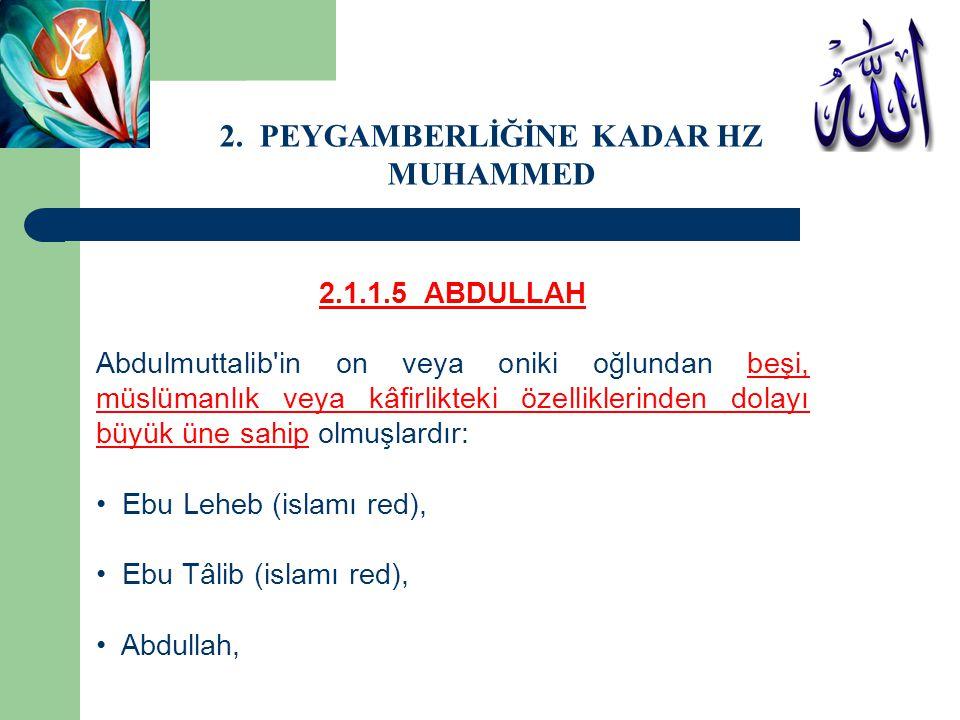 2.1.1.5 ABDULLAH Abdulmuttalib'in on veya oniki oğlundan beşi, müslümanlık veya kâfirlikteki özelliklerinden dolayı büyük üne sahip olmuşlardır: Ebu L