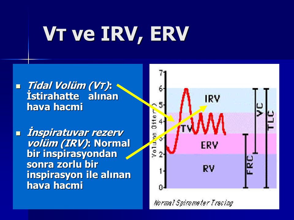 V T ve IRV, ERV V T ve IRV, ERV Tidal Volüm (V T ): İstirahatte alınan hava hacmi Tidal Volüm (V T ): İstirahatte alınan hava hacmi İnspiratuvar rezer