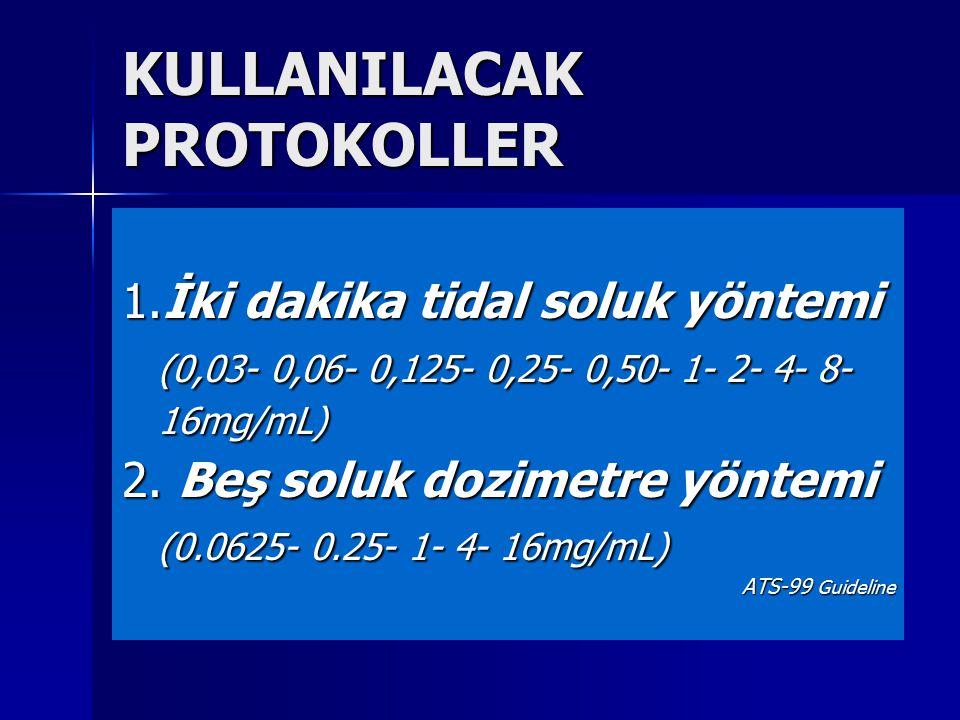 KULLANILACAK PROTOKOLLER 1.İki dakika tidal soluk yöntemi (0,03- 0,06- 0,125- 0,25- 0,50- 1- 2- 4- 8- 16mg/mL) 2. Beş soluk dozimetre yöntemi (0.0625-