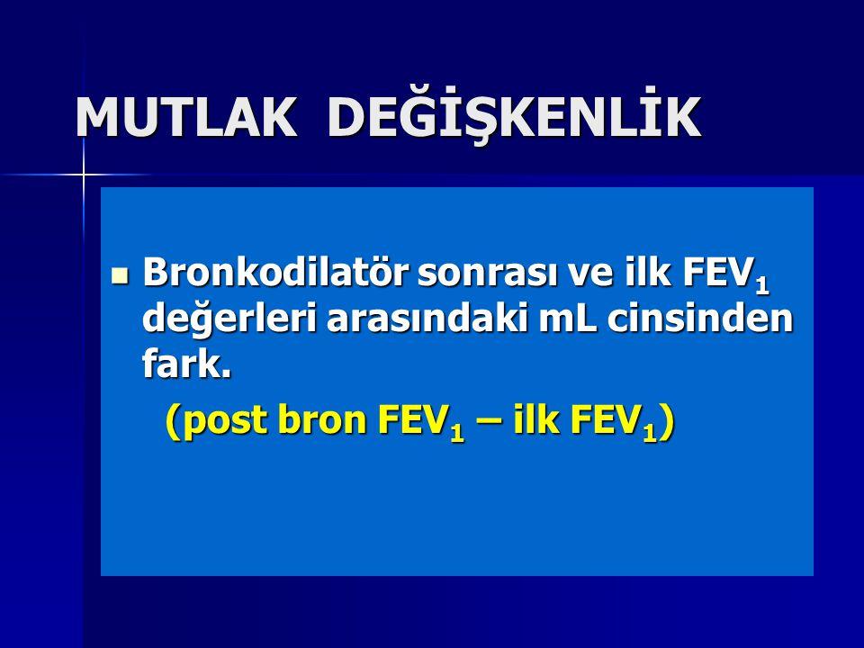 MUTLAK DEĞİŞKENLİK Bronkodilatör sonrası ve ilk FEV 1 değerleri arasındaki mL cinsinden fark. Bronkodilatör sonrası ve ilk FEV 1 değerleri arasındaki