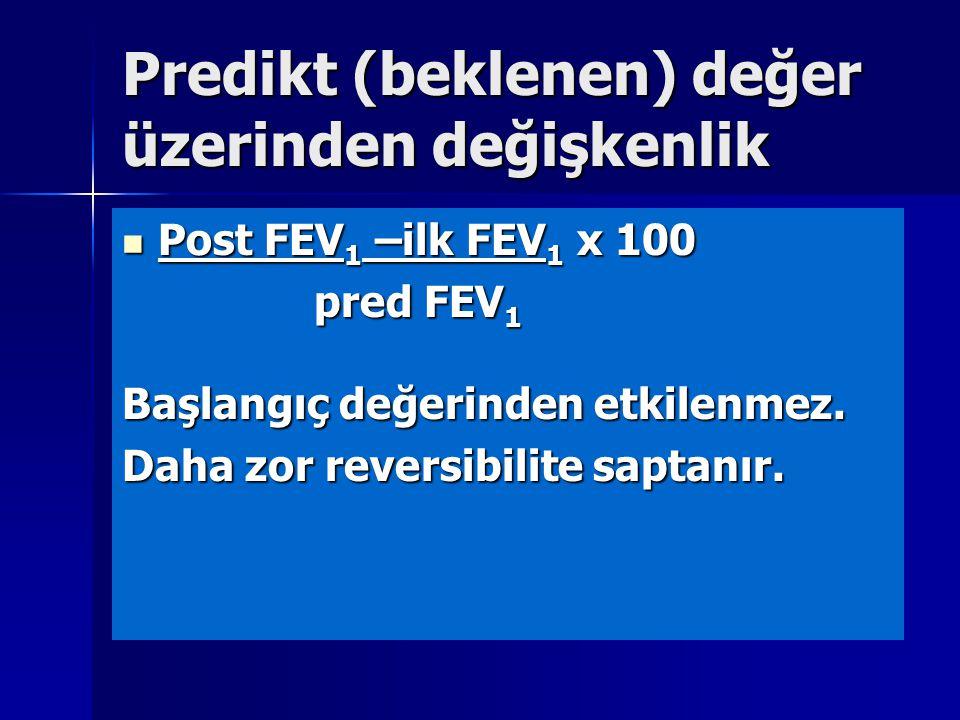 Predikt (beklenen) değer üzerinden değişkenlik Post FEV 1 –ilk FEV 1 x 100 Post FEV 1 –ilk FEV 1 x 100 pred FEV 1 Başlangıç değerinden etkilenmez. Dah