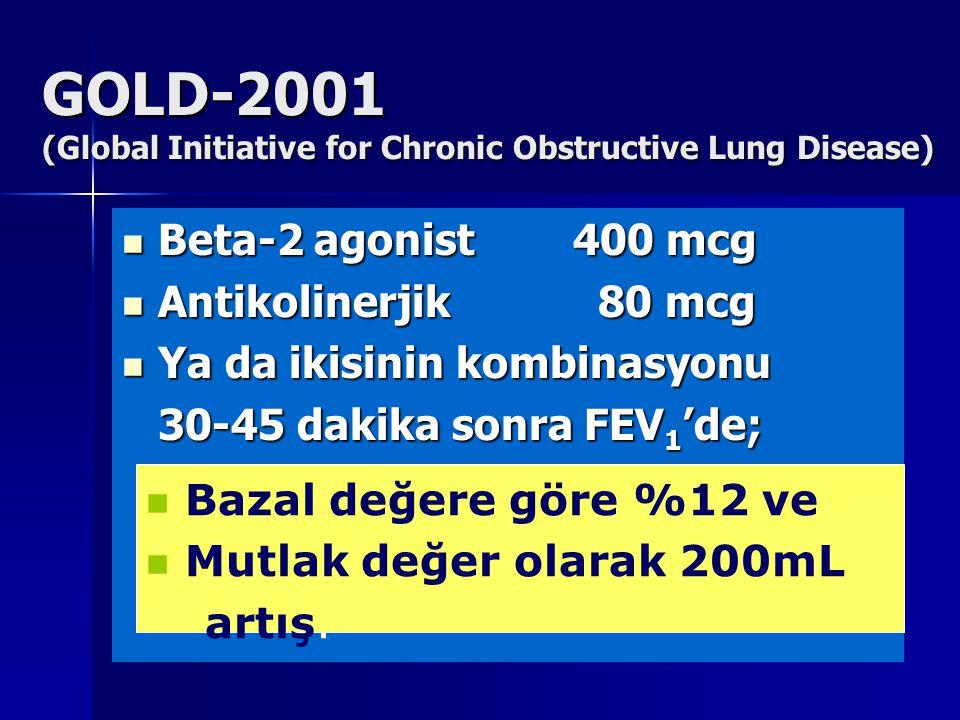 GOLD-2001 (Global Initiative for Chronic Obstructive Lung Disease) Beta-2 agonist 400 mcg Beta-2 agonist 400 mcg Antikolinerjik 80 mcg Antikolinerjik