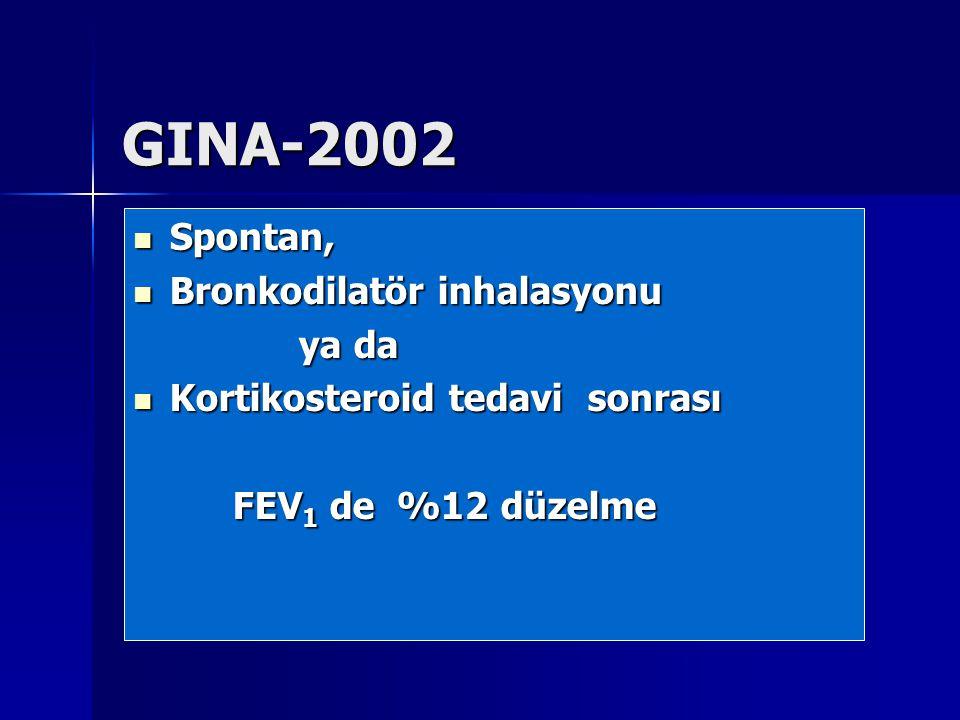 GINA-2002 Spontan, Spontan, Bronkodilatör inhalasyonu Bronkodilatör inhalasyonu ya da ya da Kortikosteroid tedavi sonrası Kortikosteroid tedavi sonras