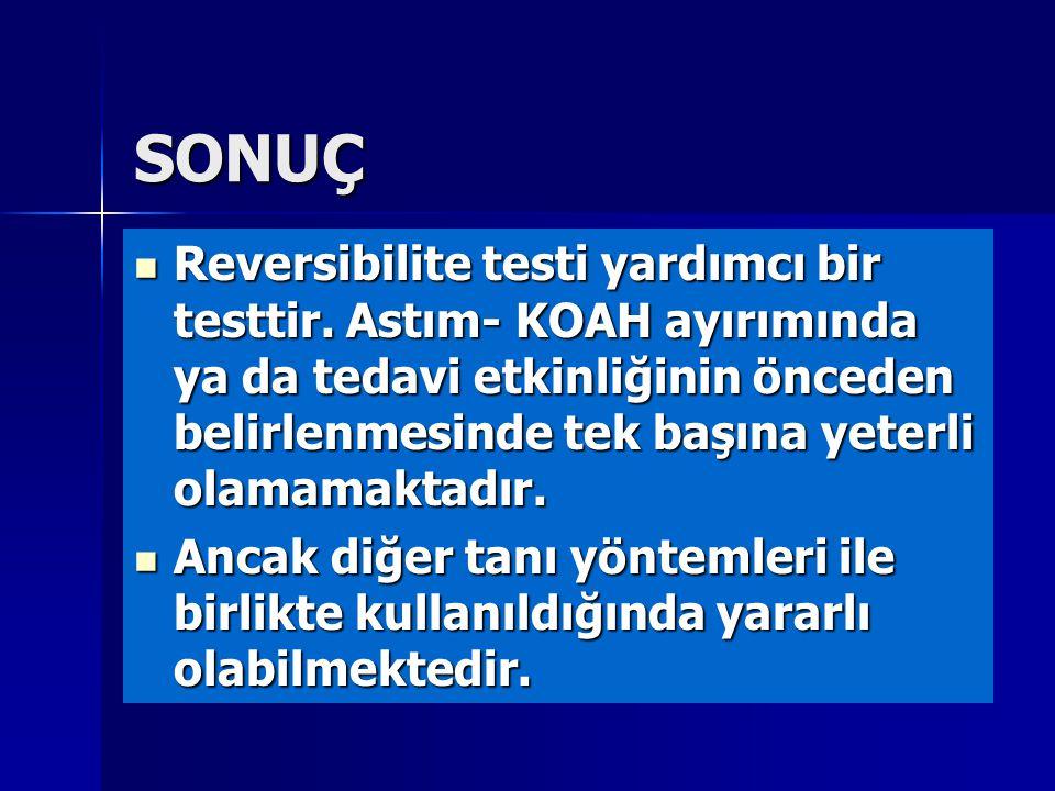 SONUÇ Reversibilite testi yardımcı bir testtir. Astım- KOAH ayırımında ya da tedavi etkinliğinin önceden belirlenmesinde tek başına yeterli olamamakta