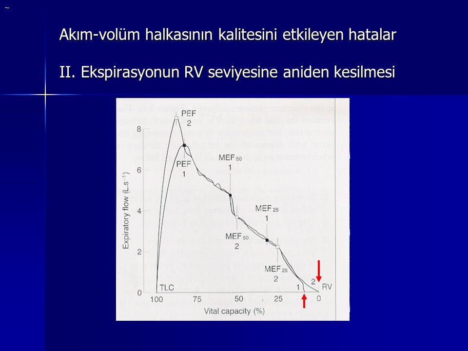 Akım-volüm halkasının kalitesini etkileyen hatalar II. Ekspirasyonun RV seviyesine aniden kesilmesi ~