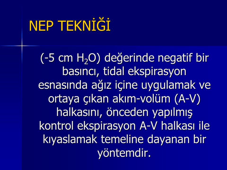 NEP TEKNİĞİ (-5 cm H 2 O) değerinde negatif bir basıncı, tidal ekspirasyon esnasında ağız içine uygulamak ve ortaya çıkan akım-volüm (A-V) halkasını,