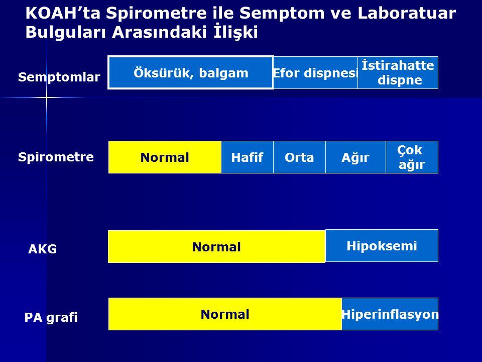 Öksürük, balgam Efor dispnesi İstirahatte dispne NormalHafifOrtaAğır Çok ağır Normal Hipoksemi NormalHiperinflasyon Semptomlar Spirometre AKG PA grafi