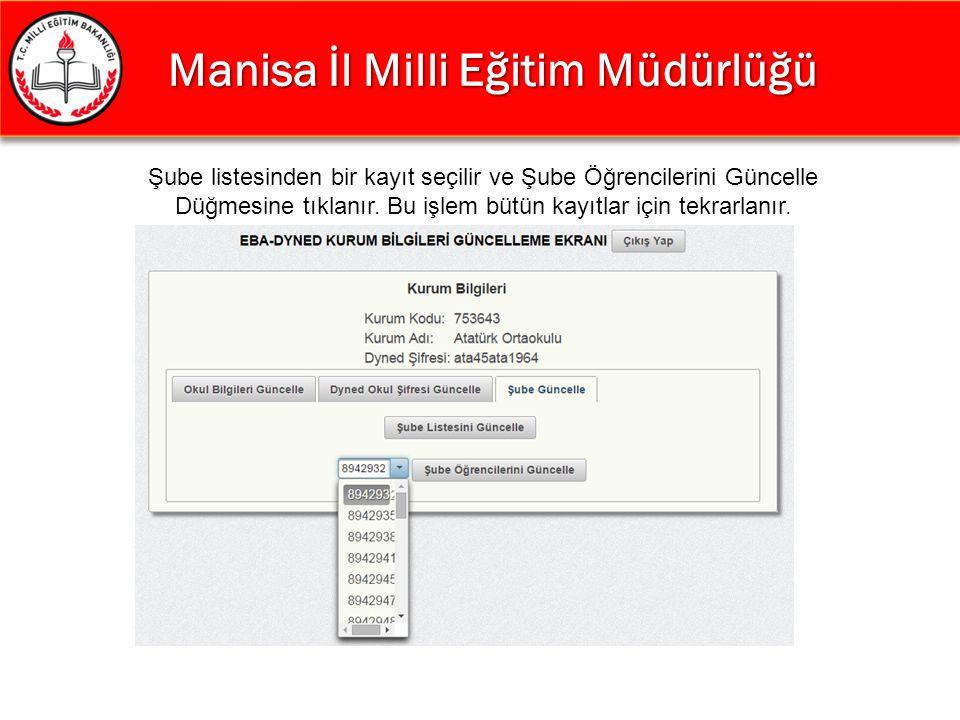 Manisa İl Milli Eğitim Müdürlüğü Manisa İl Milli Eğitim Müdürlüğü Şube listesinden bir kayıt seçilir ve Şube Öğrencilerini Güncelle Düğmesine tıklanır