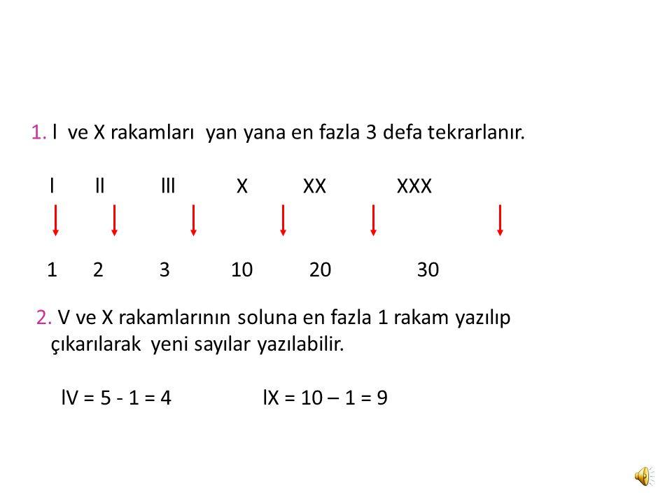 Romen Rakamlarının Yazılışları 1.l ve X rakamları yan yana en fazla 3 defa tekrarlanır.