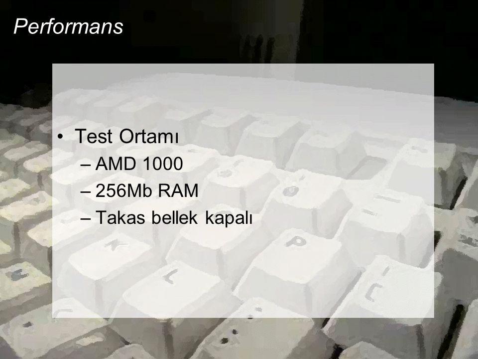 Performans Test Ortamı –AMD 1000 –256Mb RAM –Takas bellek kapalı