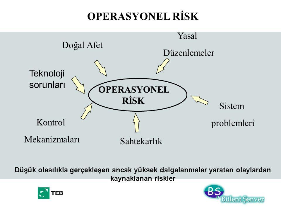 OPERASYONEL RİSK OPERASYONEL RİSK Düşük olasılıkla gerçekleşen ancak yüksek dalgalanmalar yaratan olaylardan kaynaklanan riskler Doğal Afet Sahtekarlı
