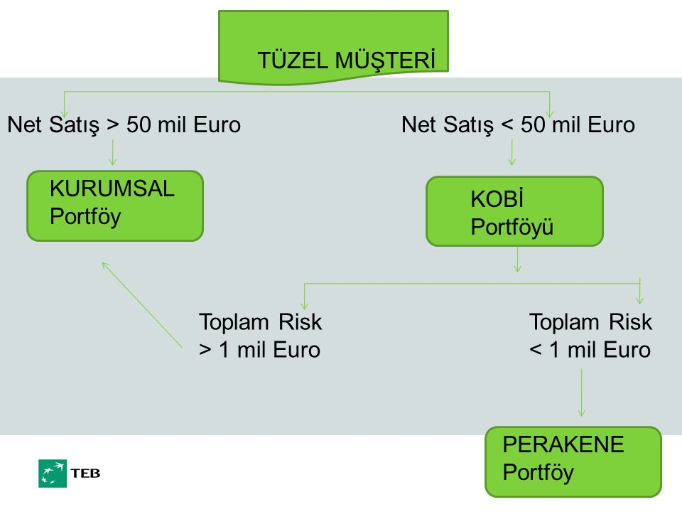 TÜZEL MÜŞTERİ KURUMSAL Portföy KOBİ Portföyü Net Satış > 50 mil EuroNet Satış < 50 mil Euro Toplam Risk > 1 mil Euro Toplam Risk < 1 mil Euro PERAKENE