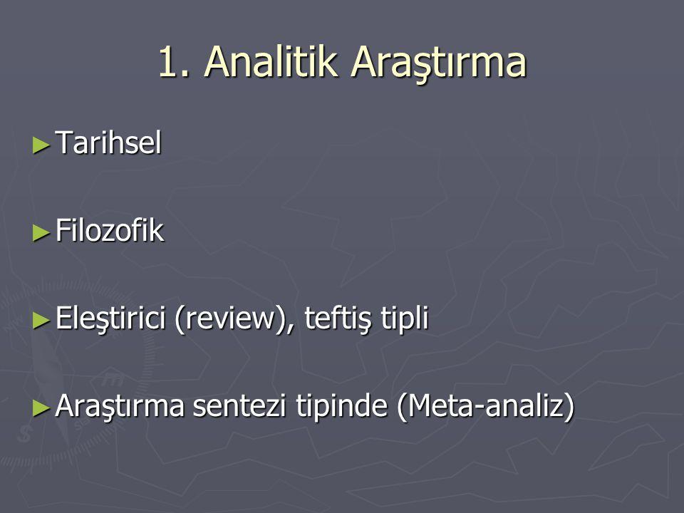 1. Analitik Araştırma ► Tarihsel ► Filozofik ► Eleştirici (review), teftiş tipli ► Araştırma sentezi tipinde (Meta-analiz)