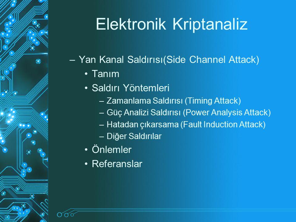 Elektronik Kriptanaliz –Yan Kanal Saldırısı(Side Channel Attack) Tanım Saldırı Yöntemleri –Zamanlama Saldırısı (Timing Attack) –Güç Analizi Saldırısı
