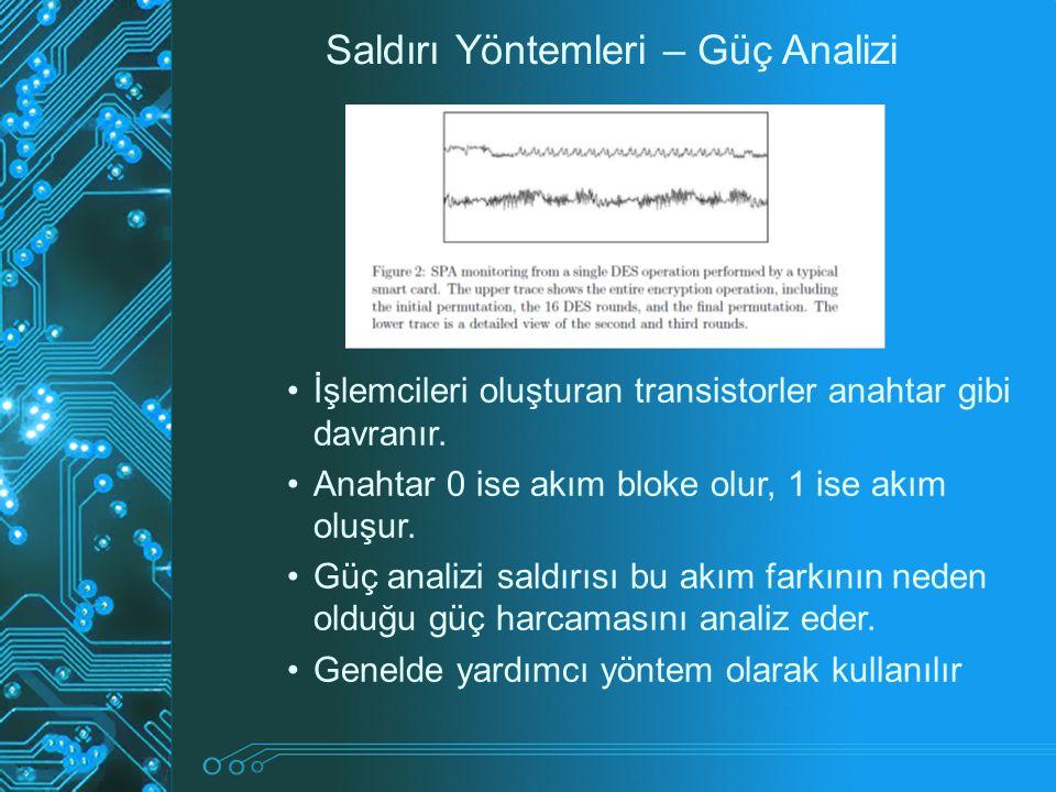 Saldırı Yöntemleri – Güç Analizi İşlemcileri oluşturan transistorler anahtar gibi davranır. Anahtar 0 ise akım bloke olur, 1 ise akım oluşur. Güç anal