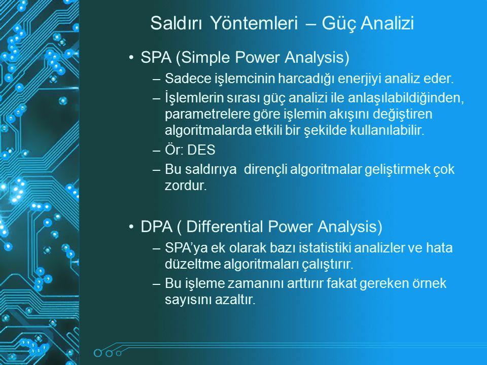 Saldırı Yöntemleri – Güç Analizi SPA (Simple Power Analysis) –Sadece işlemcinin harcadığı enerjiyi analiz eder. –İşlemlerin sırası güç analizi ile anl