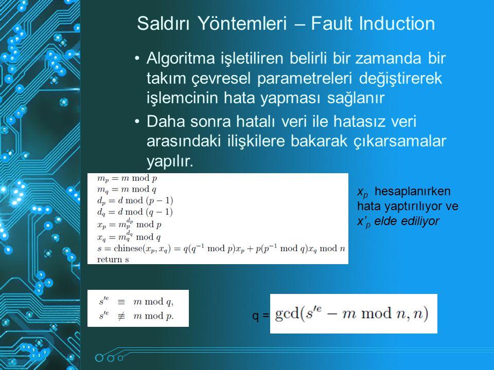 Saldırı Yöntemleri – Fault Induction Algoritma işletiliren belirli bir zamanda bir takım çevresel parametreleri değiştirerek işlemcinin hata yapması s