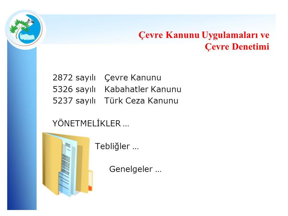 2872 sayılı Çevre Kanunu 5326 sayılı Kabahatler Kanunu 5237 sayılı Türk Ceza Kanunu YÖNETMELİKLER … Tebliğler … Genelgeler …