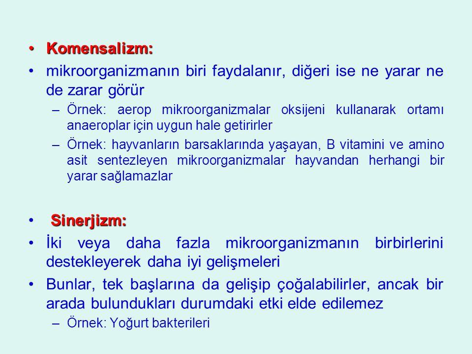 Komensalizm:Komensalizm: mikroorganizmanın biri faydalanır, diğeri ise ne yarar ne de zarar görür –Örnek: aerop mikroorganizmalar oksijeni kullanarak