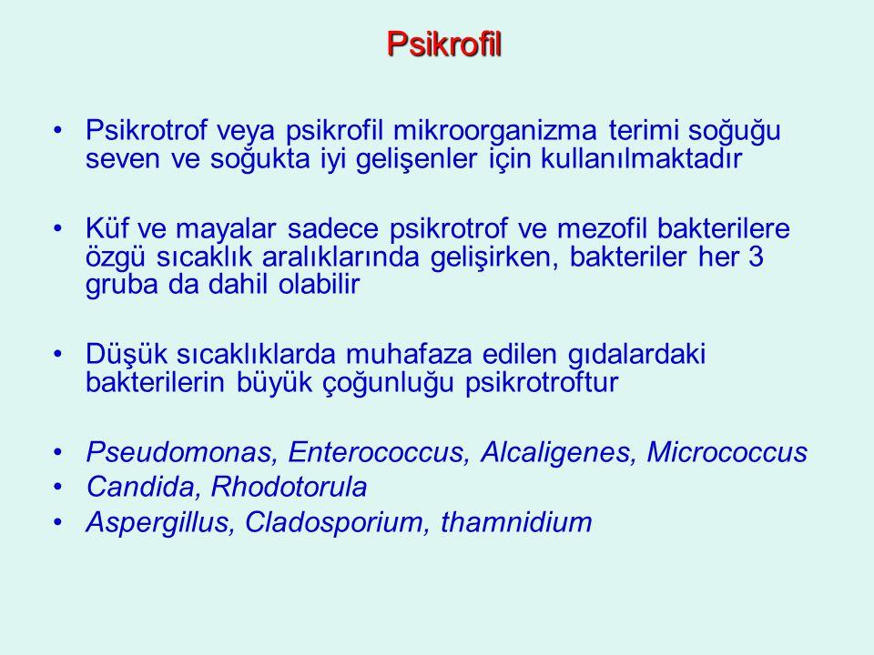 Psikrofil Psikrotrof veya psikrofil mikroorganizma terimi soğuğu seven ve soğukta iyi gelişenler için kullanılmaktadır Küf ve mayalar sadece psikrotro