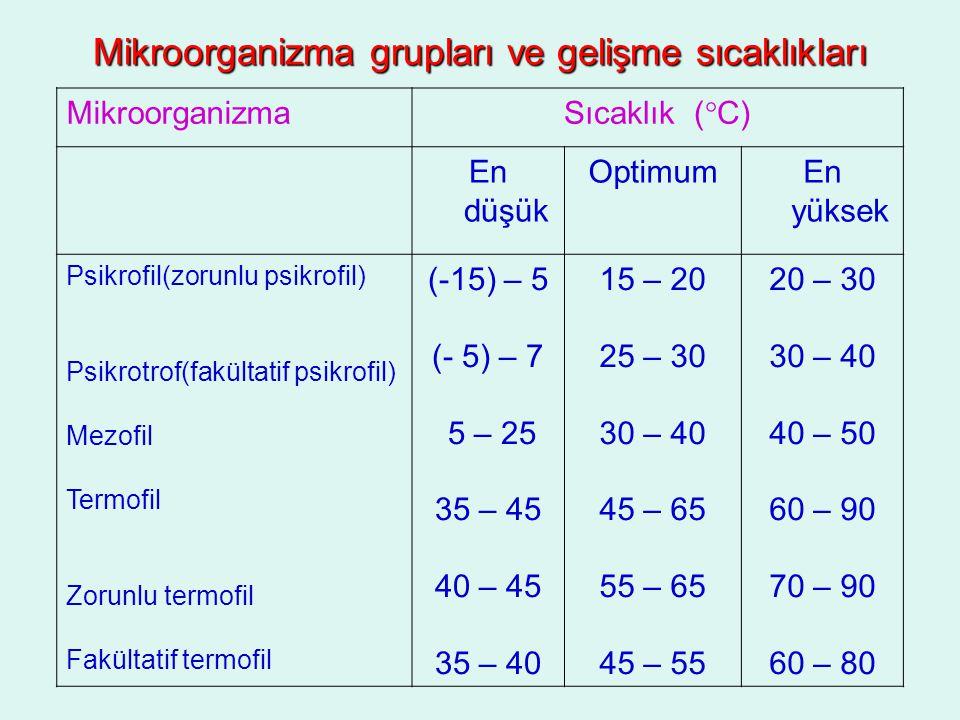 Mikroorganizma grupları ve gelişme sıcaklıkları MikroorganizmaSıcaklık (°C) En düşük OptimumEn yüksek Psikrofil(zorunlu psikrofil) Psikrotrof(fakültat