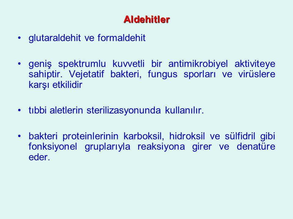 Aldehitler glutaraldehit ve formaldehit geniş spektrumlu kuvvetli bir antimikrobiyel aktiviteye sahiptir. Vejetatif bakteri, fungus sporları ve virüsl