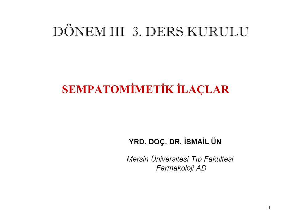 SEMPATOMİMETİK İLAÇLAR YRD. DOÇ. DR. İSMAİL ÜN Mersin Üniversitesi Tıp Fakültesi Farmakoloji AD DÖNEM III 3. DERS KURULU 1