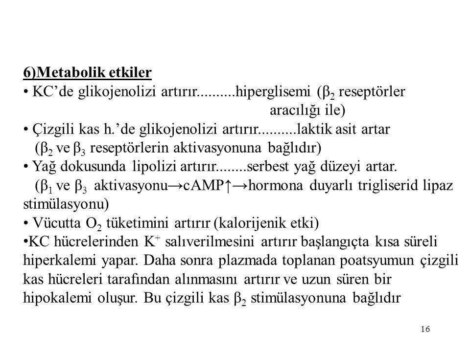 6)Metabolik etkiler KC'de glikojenolizi artırır..........hiperglisemi (β 2 reseptörler aracılığı ile) Çizgili kas h.'de glikojenolizi artırır..........laktik asit artar (β 2 ve β 3 reseptörlerin aktivasyonuna bağlıdır) Yağ dokusunda lipolizi artırır........serbest yağ düzeyi artar.