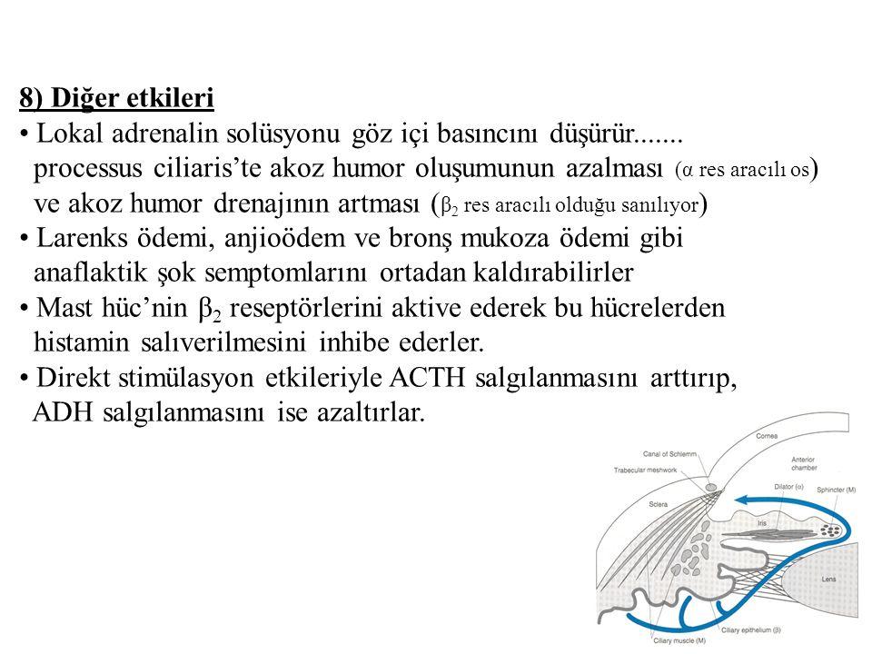 8) Diğer etkileri Lokal adrenalin solüsyonu göz içi basıncını düşürür....... processus ciliaris'te akoz humor oluşumunun azalması (α res aracılı os )