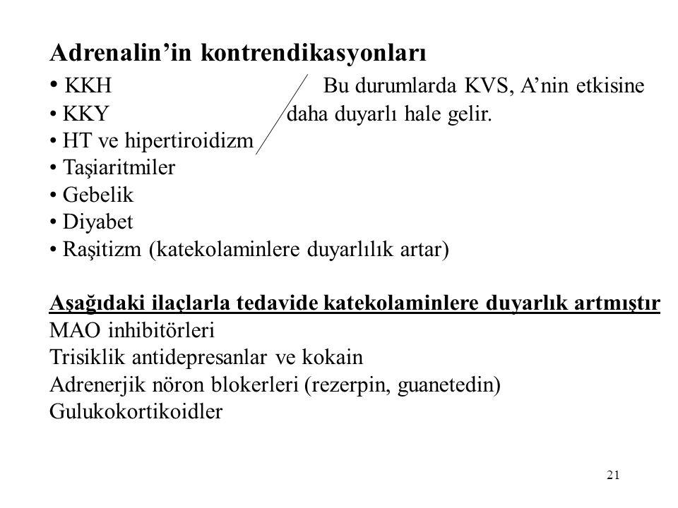 Adrenalin'in kontrendikasyonları KKH Bu durumlarda KVS, A'nin etkisine KKY daha duyarlı hale gelir. HT ve hipertiroidizm Taşiaritmiler Gebelik Diyabet
