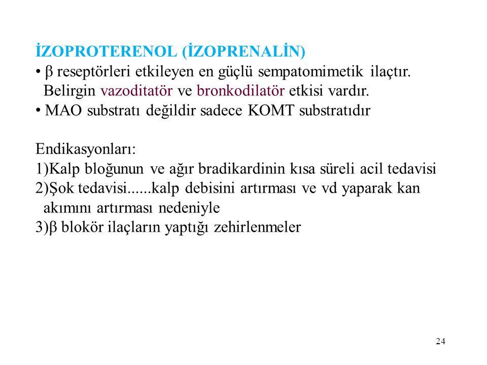 İZOPROTERENOL (İZOPRENALİN) β reseptörleri etkileyen en güçlü sempatomimetik ilaçtır.