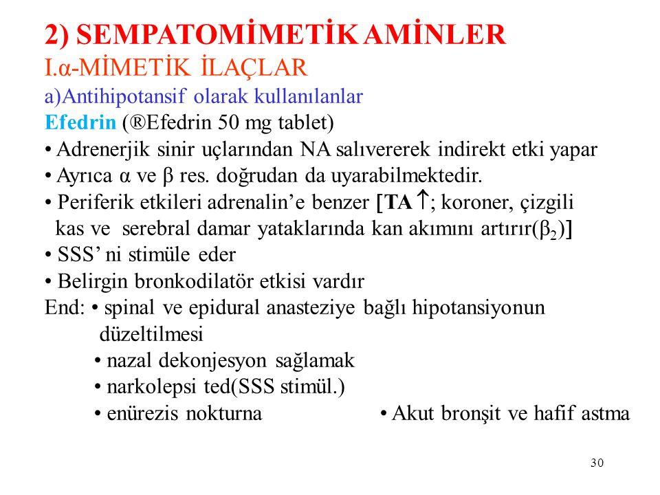 2) SEMPATOMİMETİK AMİNLER I.α-MİMETİK İLAÇLAR a)Antihipotansif olarak kullanılanlar Efedrin (®Efedrin 50 mg tablet) Adrenerjik sinir uçlarından NA salıvererek indirekt etki yapar Ayrıca α ve β res.