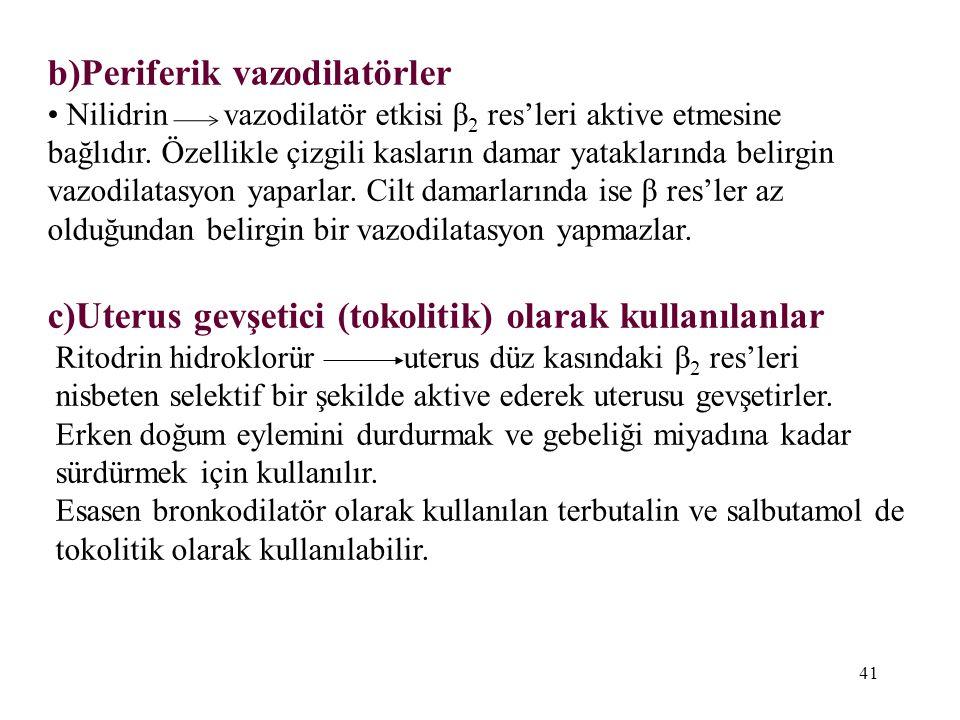 b)Periferik vazodilatörler Nilidrin vazodilatör etkisi β 2 res'leri aktive etmesine bağlıdır. Özellikle çizgili kasların damar yataklarında belirgin v