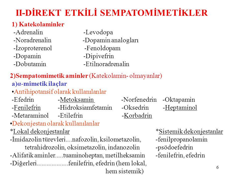 II-DİREKT ETKİLİ SEMPATOMİMETİKLER 1) Katekolaminler -Adrenalin-Levodopa -Noradrenalin -Dopamin analogları -İzoproterenol -Fenoldopam -Dopamin-Dipivefrin -Dobutamin-Etilnoradrenalin 2)Sempatomimetik aminler (Katekolamin- olmayanlar) a)α-mimetik ilaçlar Antihipotansif olarak kullanılanlar -Efedrin-Metoksamin -Norfenedrin -Oktapamin -Fenilefrin-Hidroksiamfetamin -Oksedrin -Heptaminol -Metaraminol-Etilefrin -Korbadrin Dekonjestan olarak kullanılanlar *Lokal dekonjestanlar -İmidazolin türevleri....nafozolin, ksilometazolin, tetrahidrozolin, oksimetazolin, indanozolin -Alifatik aminler.....tuaminoheptan, metilheksamin -Diğerleri...................fenilefrin, efedrin (hem lokal, hem sistemik) *Sistemik dekonjestanlar -fenilpropanolamin -psödoefedrin -fenilefrin, efedrin 6