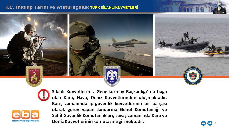T.C. İnkılap Tarihi ve Atatürkçülük TÜRK SİLAHLI KUVVETLERİ 3 Silahlı Kuvvetlerimiz Genelkurmay Başkanlığı' na bağlı olan Kara, Hava, Deniz Kuvvetleri