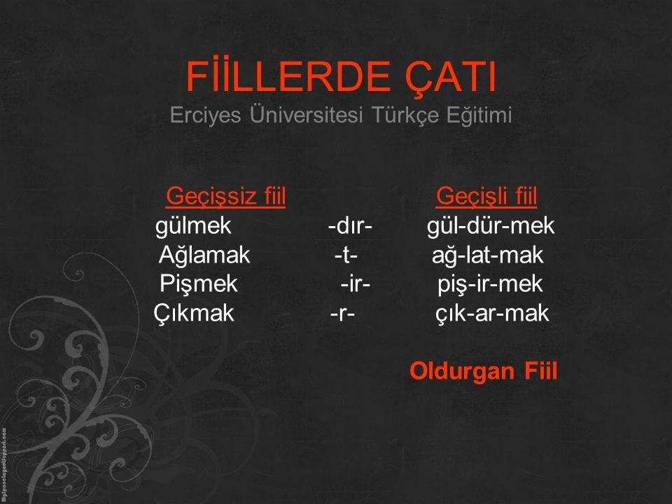 FİİLLERDE ÇATI Erciyes Üniversitesi Türkçe Eğitimi Geçişsiz fiil Geçişli fiil gülmek -dır- gül-dür-mek Ağlamak -t- ağ-lat-mak Pişmek -ir- piş-ir-mek Ç