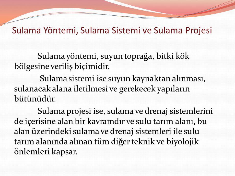 Sulama Yöntemi, Sulama Sistemi ve Sulama Projesi Sulama yöntemi, suyun toprağa, bitki kök bölgesine veriliş biçimidir. Sulama sistemi ise suyun kaynak