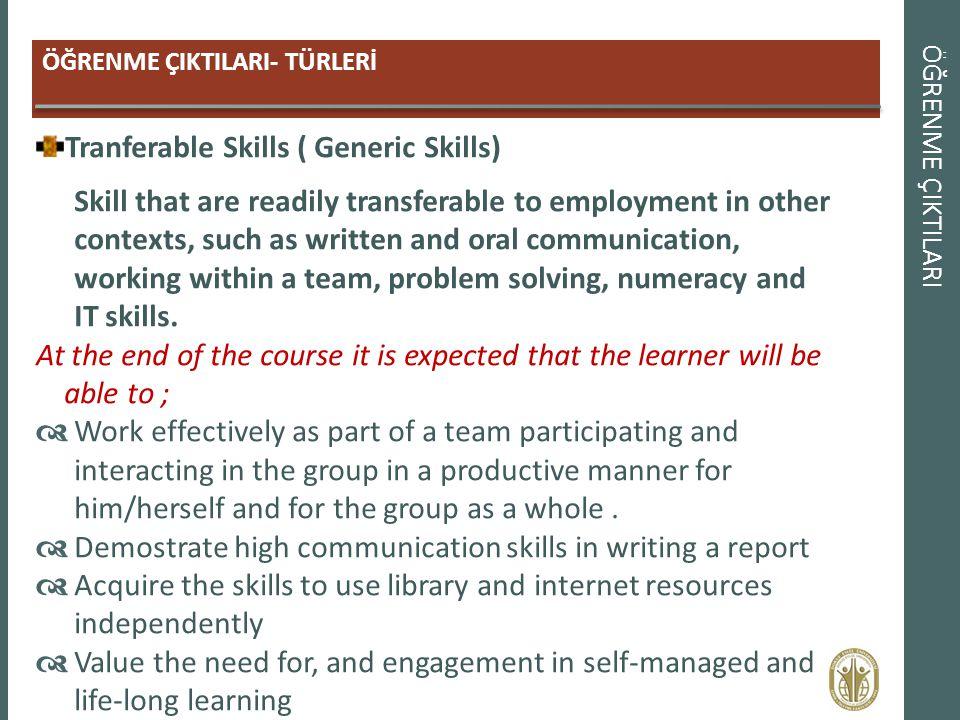 ÖĞRENME ÇIKTILARI ÖĞRENME ÇIKTILARI- TÜRLERİ Tranferable Skills ( Generic Skills) Skill that are readily transferable to employment in other contexts,