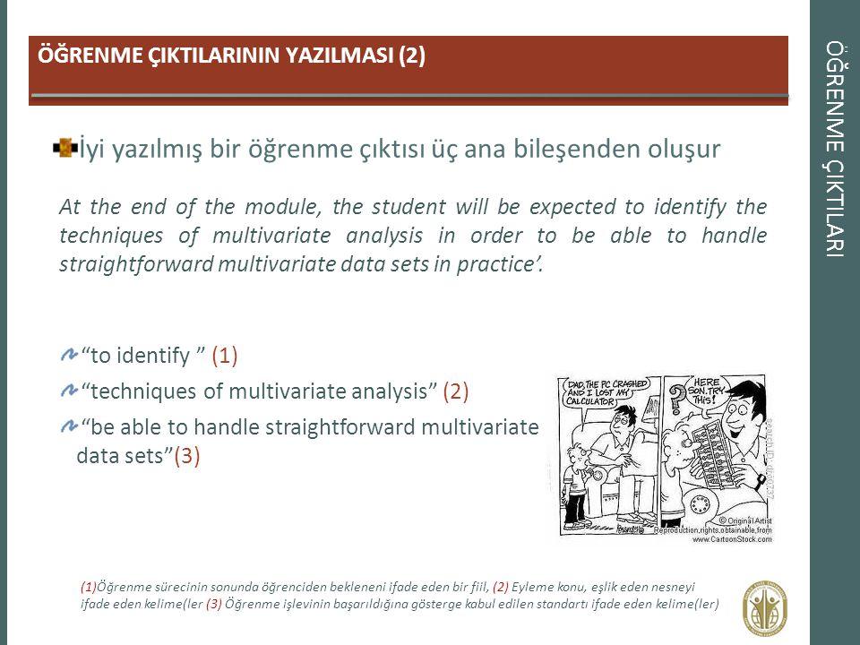 ÖĞRENME ÇIKTILARI ÖĞRENME ÇIKTILARININ YAZILMASI (2) İyi yazılmış bir öğrenme çıktısı üç ana bileşenden oluşur At the end of the module, the student w