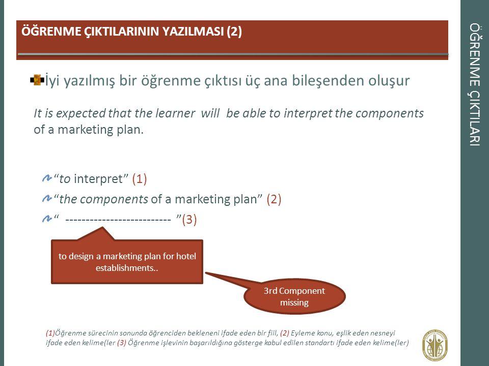 ÖĞRENME ÇIKTILARI ÖĞRENME ÇIKTILARININ YAZILMASI (2) İyi yazılmış bir öğrenme çıktısı üç ana bileşenden oluşur It is expected that the learner will be