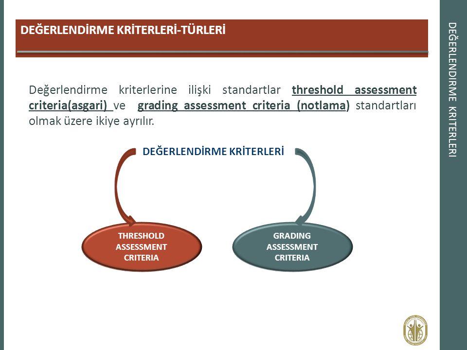 DEĞERLENDİRME KRİTERLERİ-TÜRLERİ DEĞERLENDIRME KRITERLERI Değerlendirme kriterlerine ilişki standartlar threshold assessment criteria(asgari) ve gradi
