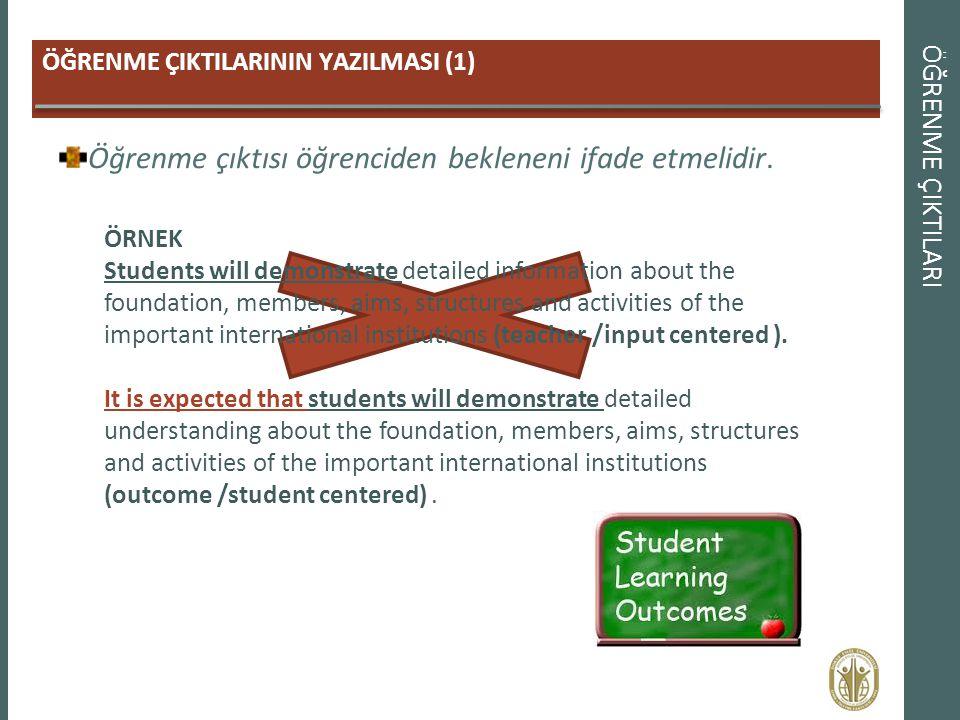 ÖĞRENME ÇIKTILARI ÖĞRENME ÇIKTILARININ YAZILMASI (1) Öğrenme çıktısı öğrenciden bekleneni ifade etmelidir. ÖRNEK Students will demonstrate detailed in