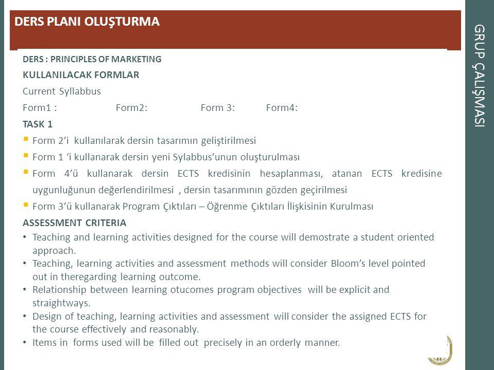GRUP ÇALIŞMASI DERS PLANI OLUŞTURMA DERS : PRINCIPLES OF MARKETING KULLANILACAK FORMLAR Current Syllabbus Form1 : Syllabus TemForm2: Course D Form 3: