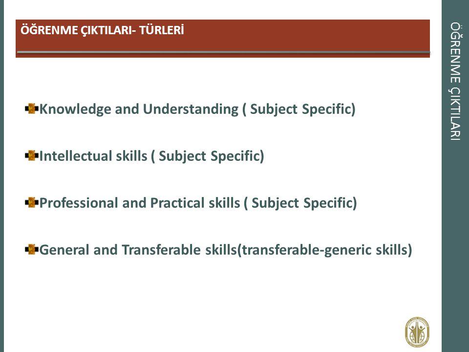 ÖĞRENME ÇIKTILARI ÖĞRENME ÇIKTILARI- TÜRLERİ Knowledge and Understanding ( Subject Specific) Intellectual skills ( Subject Specific) Professional and