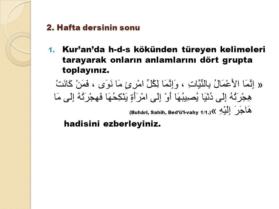 2. Hafta dersinin sonu 1. Kur'an'da h-d-s kökünden türeyen kelimeleri tarayarak onların anlamlarını dört grupta toplayınız. « إِنَّمَا الأَعْمَالُ بِا