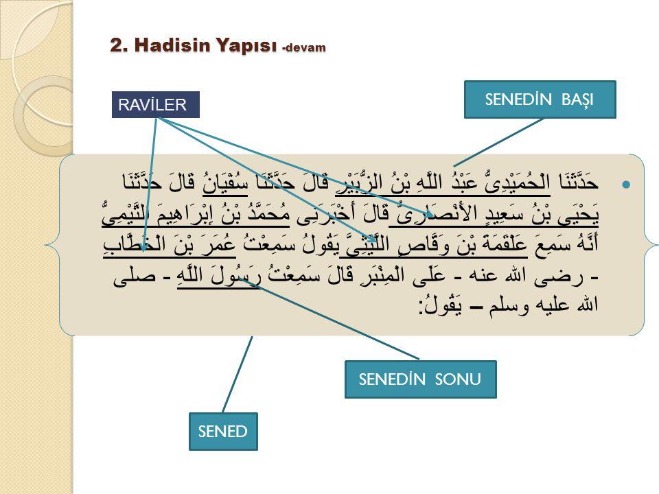 2.Hadisin Yapısı -devam Senedle ilgili terimler isnad, tarik, vecih, ravi.