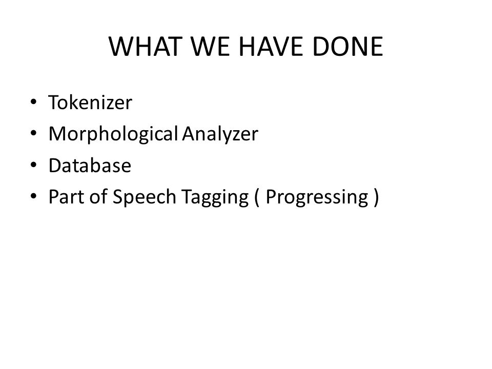 WHAT WE HAVE DONE Tokenizer Morphological Analyzer Database Part of Speech Tagging ( Progressing )